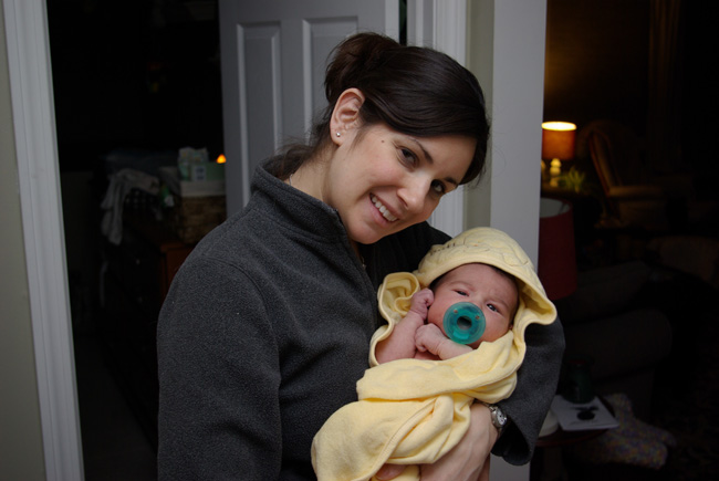 Noah after bath with momma