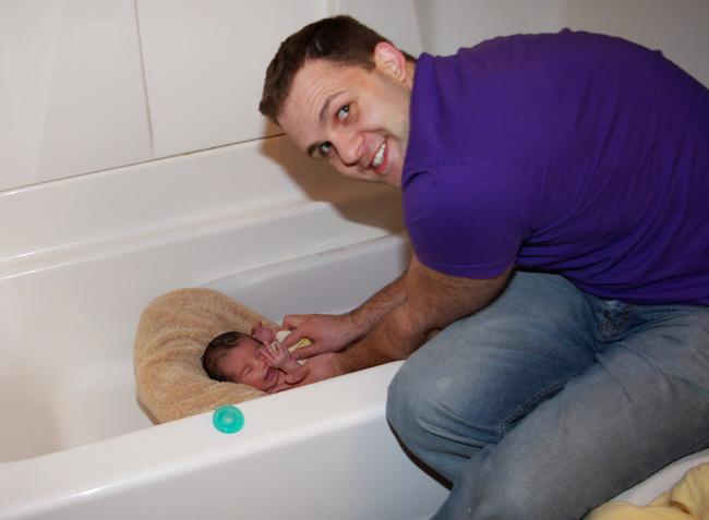 Noah Taking First Bath