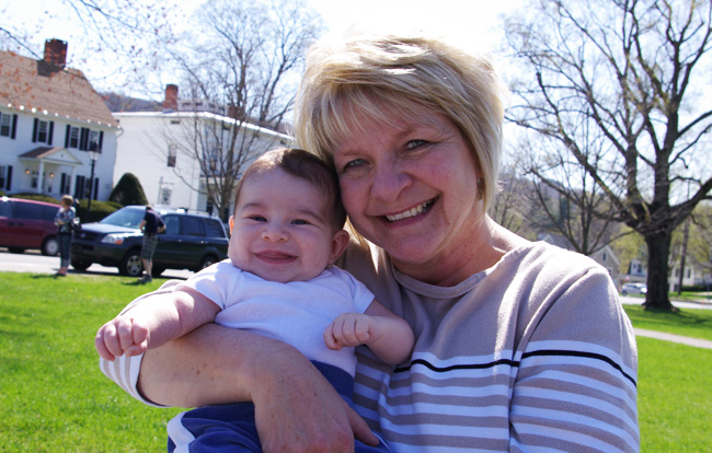 grandma and noah on a bench