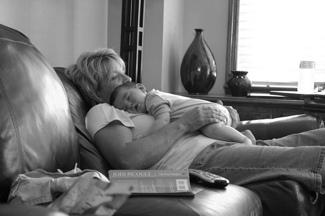 Noah snoozin with grandma Love